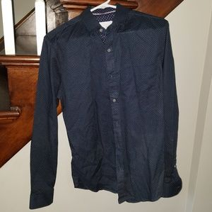 Craft+Flow SMALL Navy & Yellow Dot Button Down